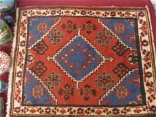 1233 Hamadan Persian Handmade Mat geometrics red fie