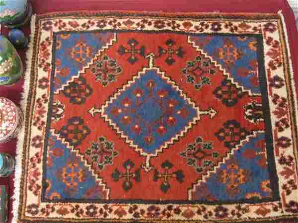 1233: Hamadan Persian Handmade Mat, geometrics, red fie