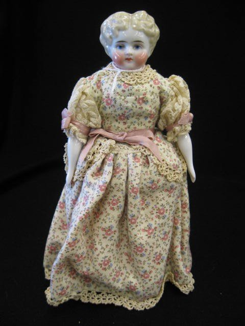 8: Victorian China Head Doll, unusual blond molded hair
