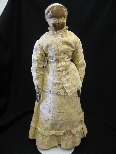 9: Rare 19th Century Wooden Head Doll, Joel Ellis....