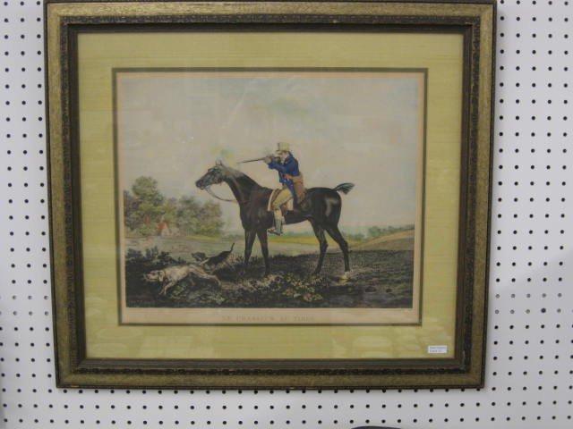 "12: Handcolored Fox Hunt Engraving, ""Le Chasseur Au Tir"