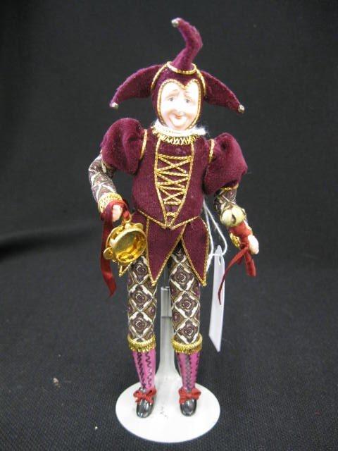 "16: Bisque Head Jester Doll, elaborate costume, 6""."