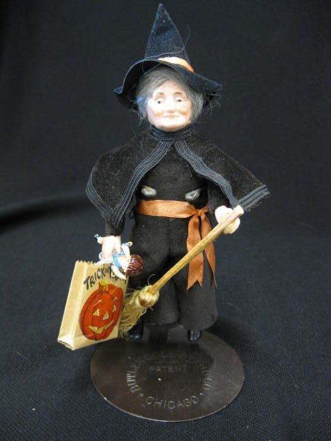 "18: Halloween Witch Doll, bisque head, 5 1/2""."