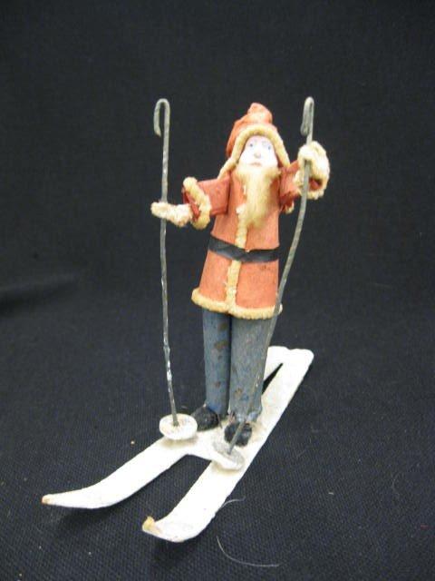 """24: Antique Santa on Snow Skis, 5""""."""