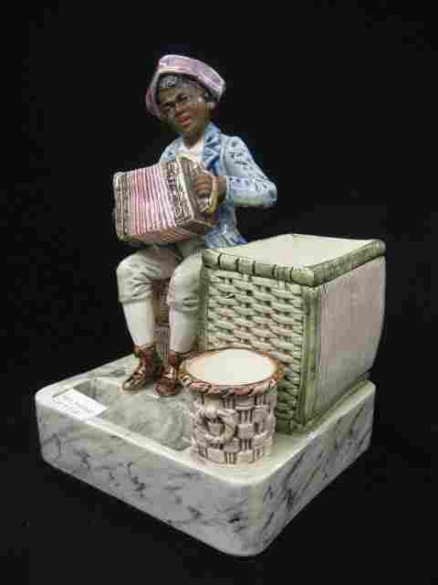 116: Victorian Figural Majolica Pottery Smoking Set, de
