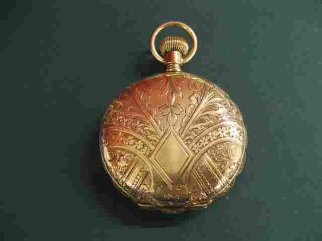 131B: Elgin 14k Gold Pocketwatch, hunting case, fancy