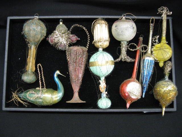 17 Victorian Blown & Tinsel Christmas Ornaments, i