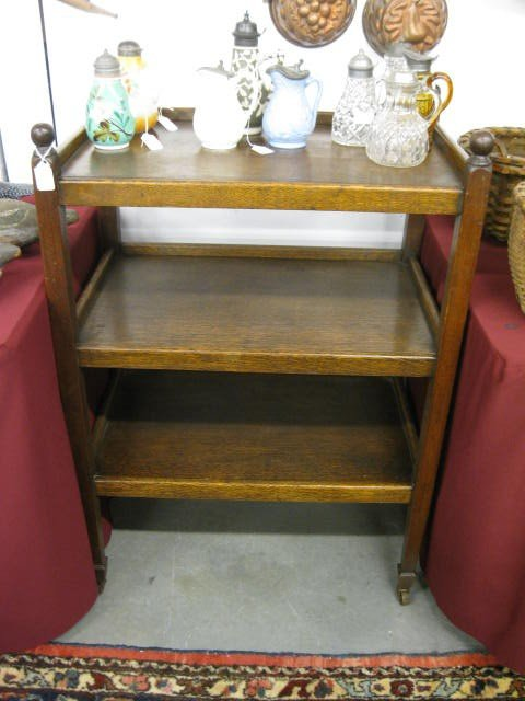 376: Antique Oak Butler's Trolley Cart, triple shelf, g