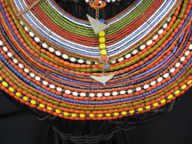 402A: 5 African Tribal Necklaces or Collars, colorful b - 2