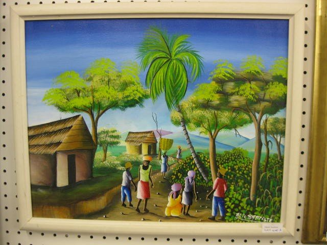 405A: Alix Baptiste, Acrylic, Haiti Village Scene, well