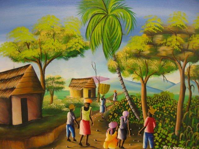 405A: Alix Baptiste, Acrylic, Haiti Village Scene, well - 2