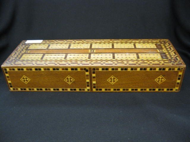 """426: Cribbage Board, fancy inlaid woods, 4 1/2"""" x 13 1/"""