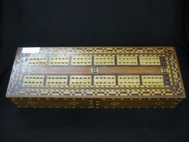 """426: Cribbage Board, fancy inlaid woods, 4 1/2"""" x 13 1/ - 2"""