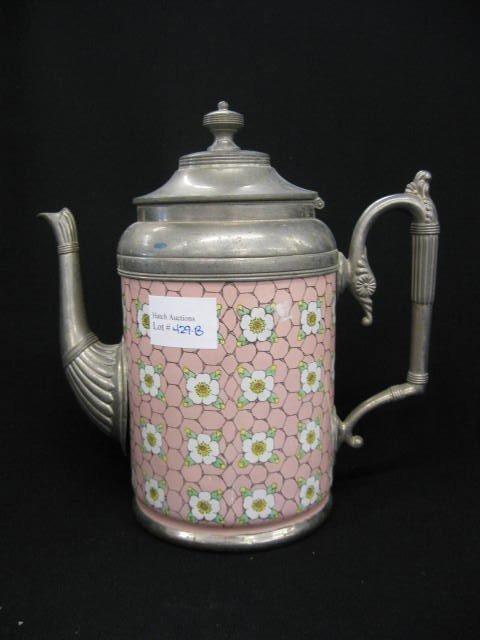 429B: Victorian Enamelware Coffee Pot, floral & chicken