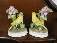 499 Pair of Andrea Porcelain Bird Figurines yellow ca
