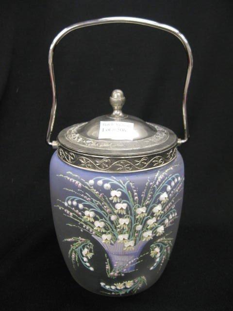 506: Victorian Art Glass Biscuit Jar,