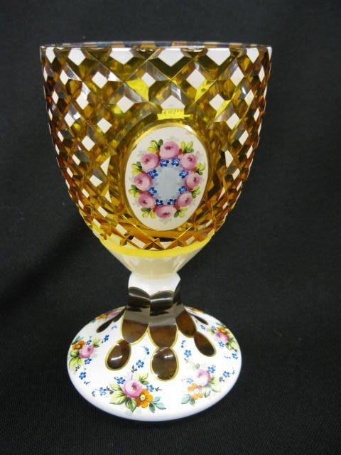 508: Bohemian Art Glass Goblet or Chalice,