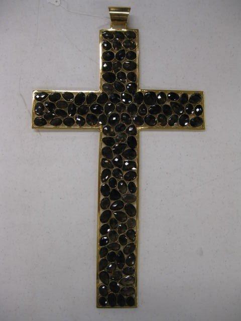 509: Smokey Quartz Gem Studded Cross,