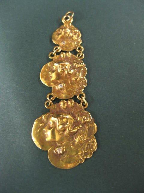510: 14k Gold & Diamond Art Nouveau Pendant,