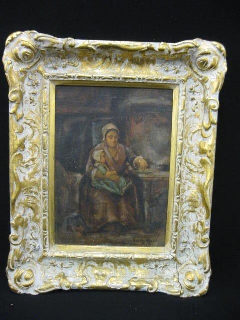 512: Josef Israels, Oil, Mother & Child