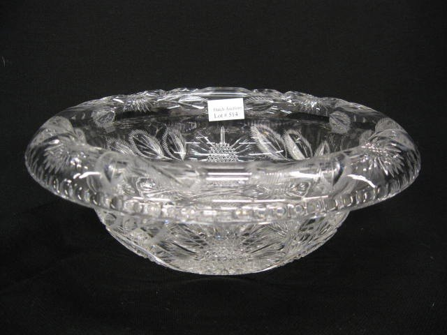 514: Cut Glass Bowl with Rolled Rim,