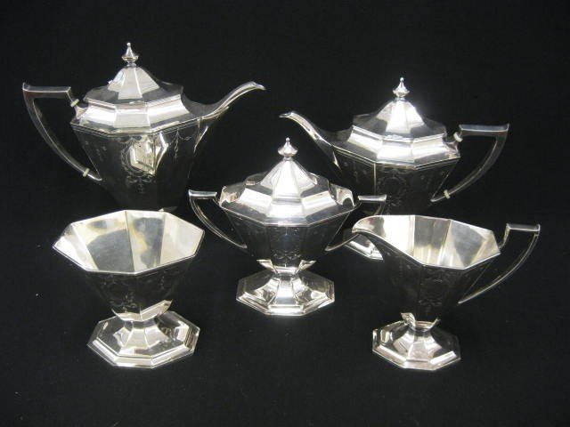 698: 5 pc. Pairpoint Silverplate Tea & Coffee Service,