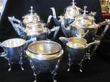 822: 7 pc. Meriden Victorian Silverplate Tea & Coffee