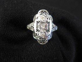 Diamond Filigree Ring, Trio Of Small Diamonds