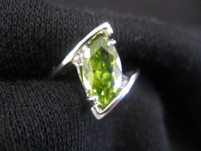 11: Peridot Ring, vivid 5 carat marquise gem