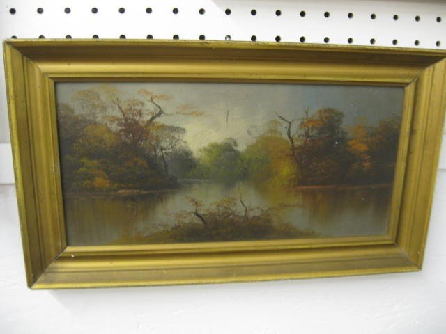 12: Oil Painting, Autumn Landscape with River,