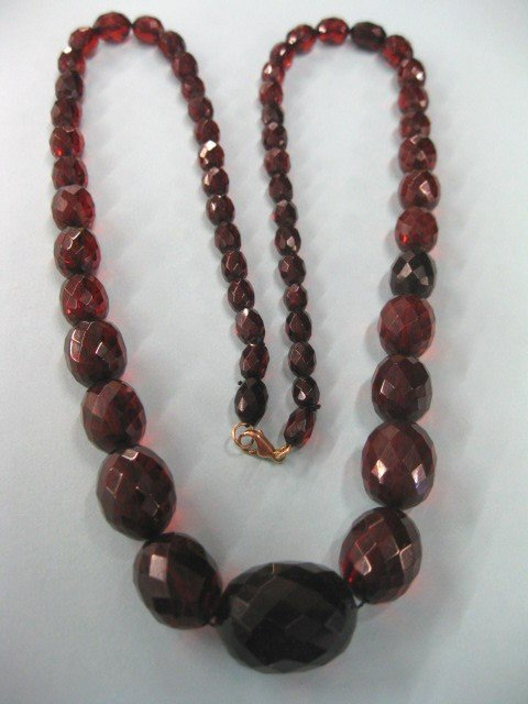 70A: Victorian Cherry Amber Necklace,