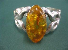 Amber & Sterling Silver Indian Bracelet,