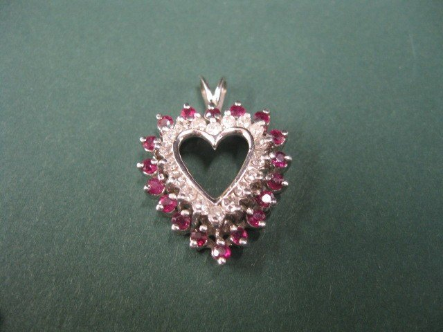 71A: Ruby & Diamond Heart Pendant, 18 diamonds