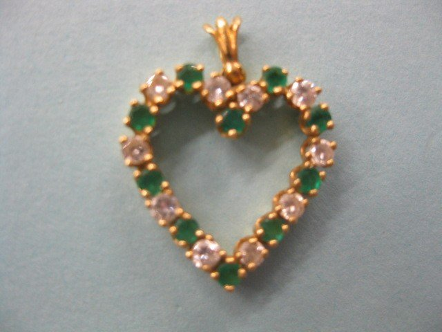71B: Emerald & Diamond Heart Pendant, 10