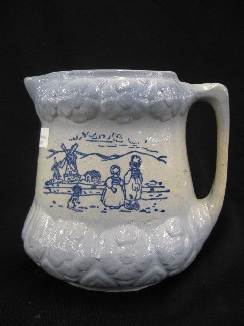 83: Blue Decorated Stoneware Pottery Pitcher,