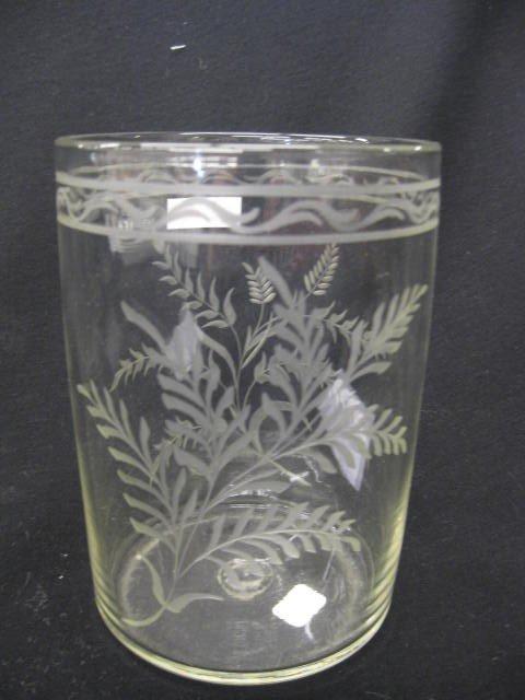 260: Steigel-type Glass Engraved Vase, floral,