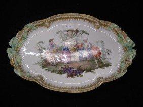500: Meissen Porcelain Handpainted Tray, festive garden