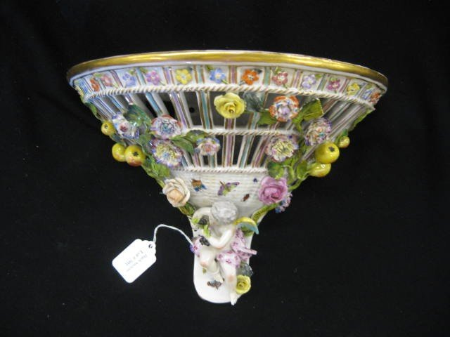 501: Meissen Porcelain Wall Sconce, elaborate applied f
