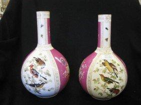 502: Pair of Meissen Porcelain Vases, handpainted alter