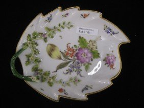 504: Meissen Porcelain Figural Leaf Dish, handpainted f