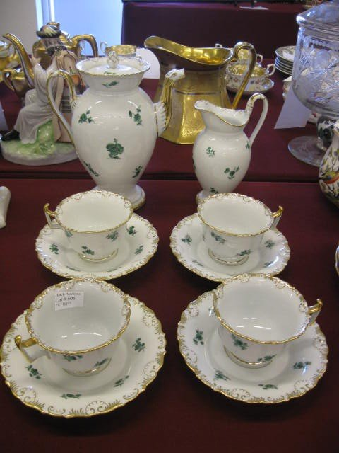 "505: Meissen Porcelain Coffee Service, includes 9"" pot,"
