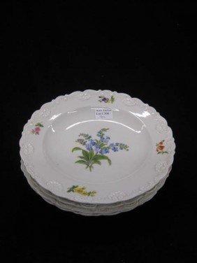 4 Meissen Porcelain Soup Plates, Floral Sprays, Ra