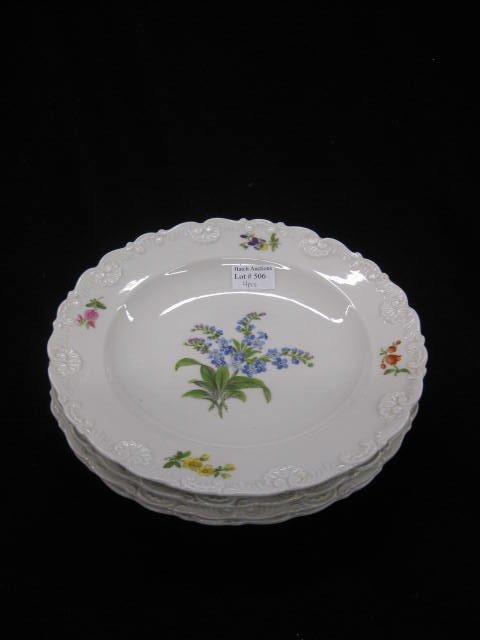 506: 4 Meissen Porcelain Soup Plates, floral sprays, ra