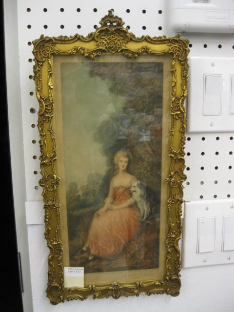 513: Mezzotint, Lady with Dog, fancy gold frame,