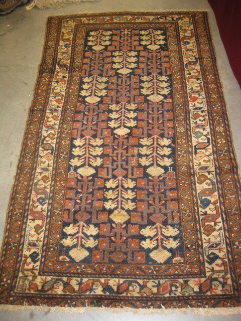 514: Antique Persian Handmade Rug, stylized florals and