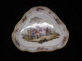 516: Augustus Rex Meissen Porcelain Dish, handpainted