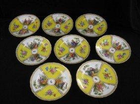 517: Set of 8 Dresden Porcelain Soup Plates, handpainte