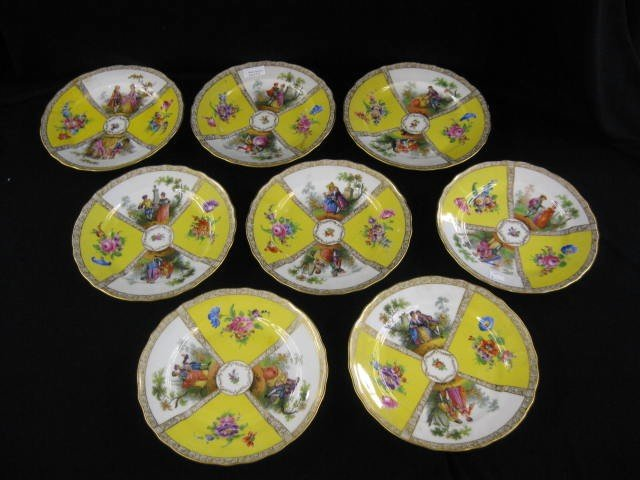 517: Set of 8 Dresden Porcelain Soup Plates, handpainte