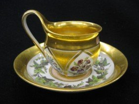 519: Early Berlin Porcelain Cup & Saucer, heavy gold wi