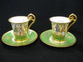 520: Pair of Dresden Porcelain Cups & Saucers, handpain